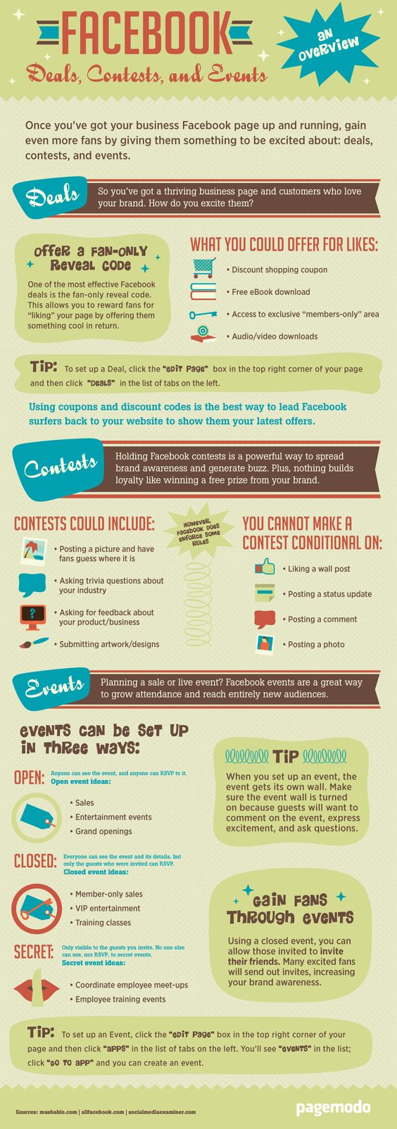 Facebook Deals Contests and Events - an overview [infographic]