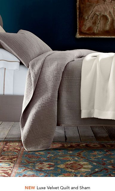 Garnet Hill Cotton Quilts and Coverlets. New Luxe Velvet Quilt and Sham.