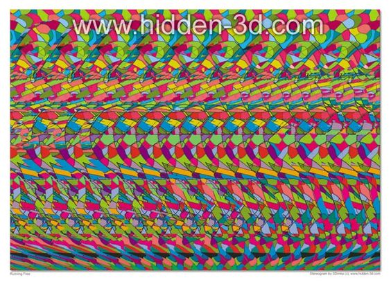 "Horse 18""x13"" 3D Stereogram Poster Hidden 3D illusion ..."