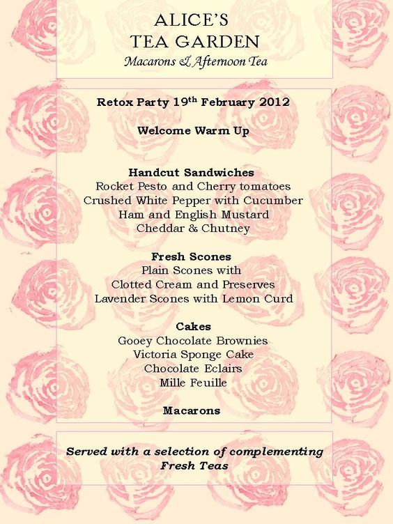 February afternoon tea party menu pink tea in memory for Tea party menu template