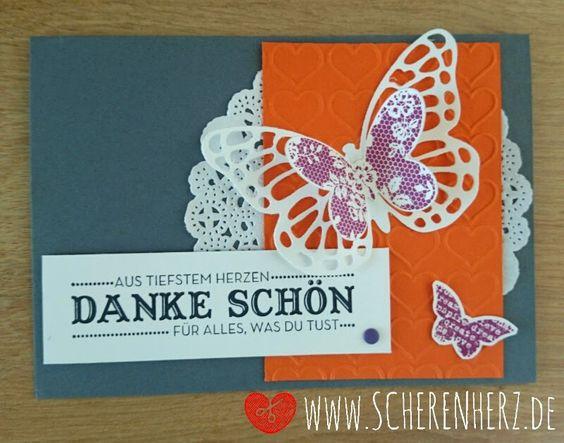 Dankeschön - mit Herz und Schmetterling www.scherenherz.de