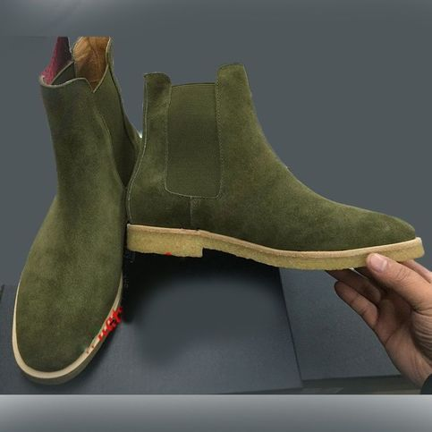 Olive+green+Ankle+Chelsea+Suede+Boot