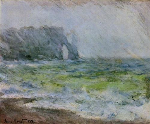 The Manneport, Etretat in the Rain - Claude Monet:
