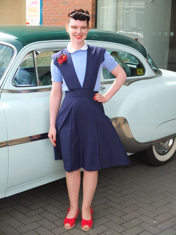 Jenny Frances - Frantically Jenny Frances blog. Wearing the Judy pinafore skirt from Frantic About Frances Daywear for Dames