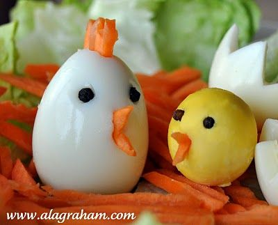 Hard Boiled 'Chicken' Eggs by alagraham: Perfect for Easter. #Easter #Easter_Chicken_Eggs #alagraham:
