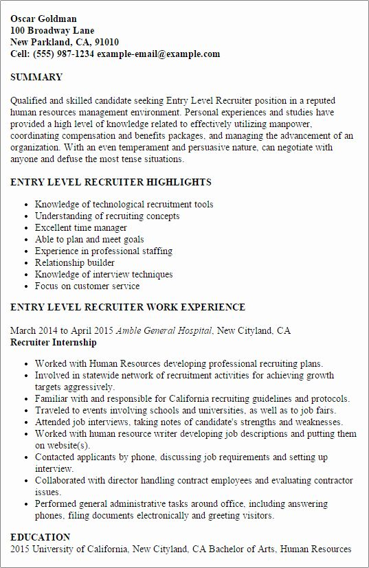 Human Resource Entry Level Resume Beautiful Entry Level Recruiter Resume Template Best Design Tips In 2020 Recruiter Resume Entry Level Resume Job Resume Samples