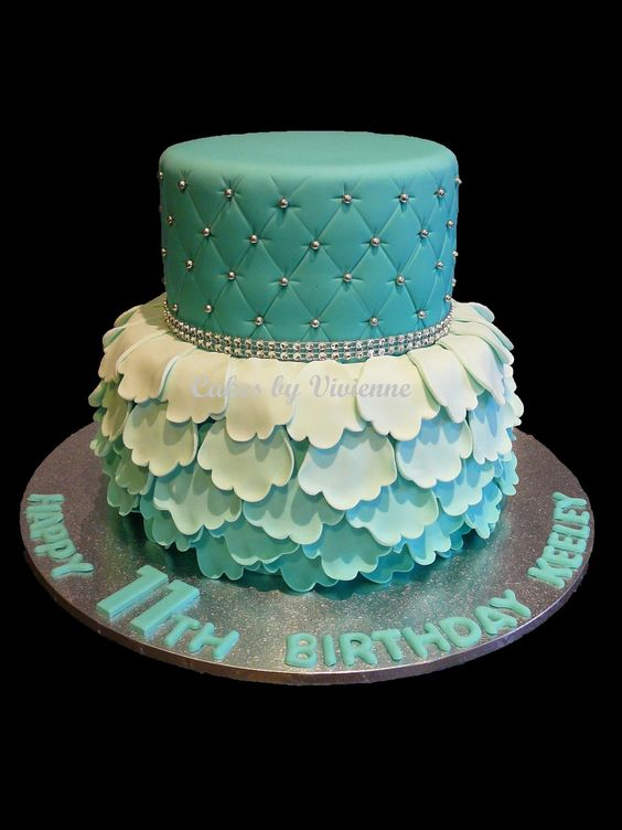 Turquoise Ombre Ruffle And Quilted Birthday Cake Cakes