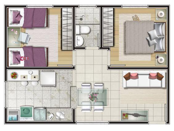 Denah rumah minimalis 2 kamar tidur 1 lantai