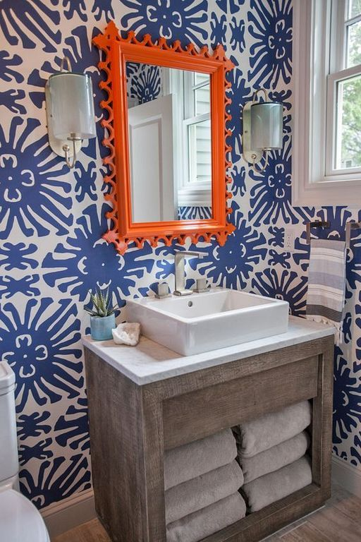 30 Beautiful Wallpaper Designs Ideas Make Your Bathroom More