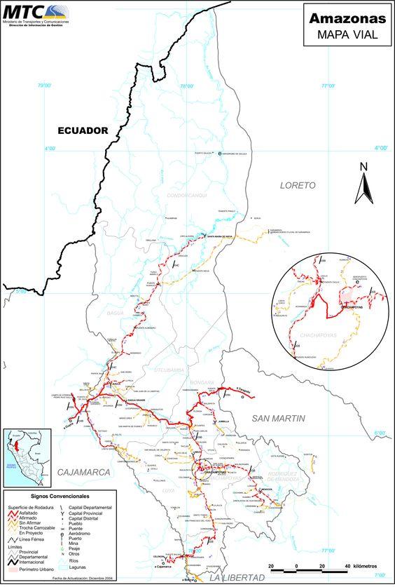 Mapa vial de la Región Amazonas en el Perú.