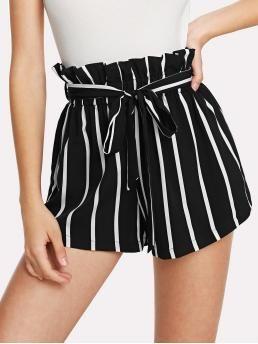 Casual Striped Wide Leg Regular Elastic Waist High Waist Black and White Self Tie Waist Frill Trim Striped Shorts with Belt