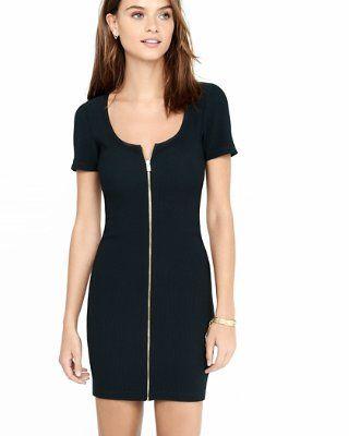 black ribbed zip sheath dress from EXPRESS