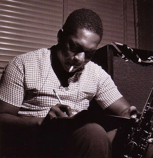 John Coltrane during Paul Chambers' Whims of Chambers session, Hackensack NJ, September 21 1956 (photo by Francis Wolff).