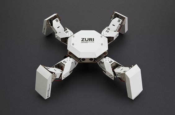 ZURI 134 - ZURI is a programmable robot made from paper and grey cardboard.