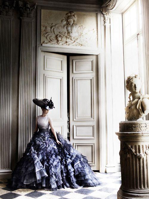 Kristen Stewart in Dior (photographer Mario Testino for Vanity Fair) -- more shots from photo shoot: http://thefashion-court.com/2012/06/cover-girl-kristen-stewart-gets-candid-in-couture-for-vanity-fair/