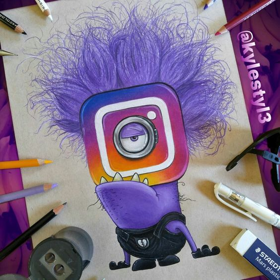Art Ideas App: New Instagram Logo And Evil Minion Social Media Mash Up