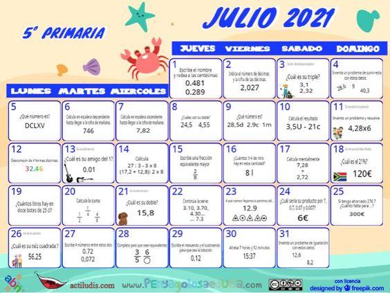 Calendario Quinto ABN – Julio 2021