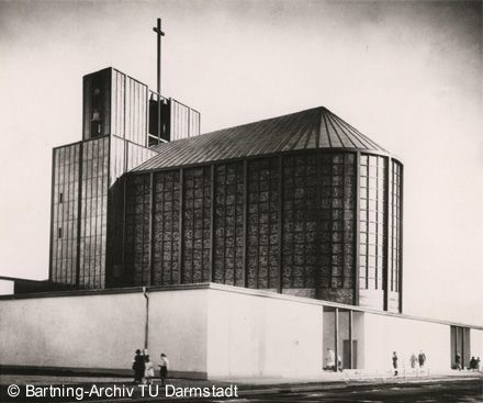 Stahlkirche Essen, Blick von Süd-Osten, Quelle: Otto Bartning Archiv TU Darmstadt