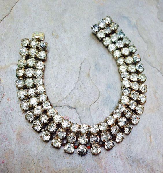 Vintage Bridal Bracelet 1930's Czech Czechoslovakia Ice Rhinestone 3 Row Bracelet