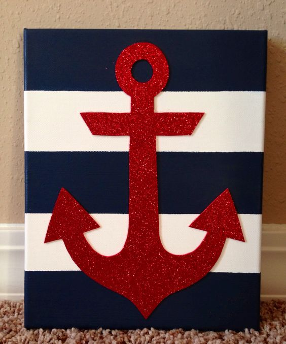 Striped anchor canvas