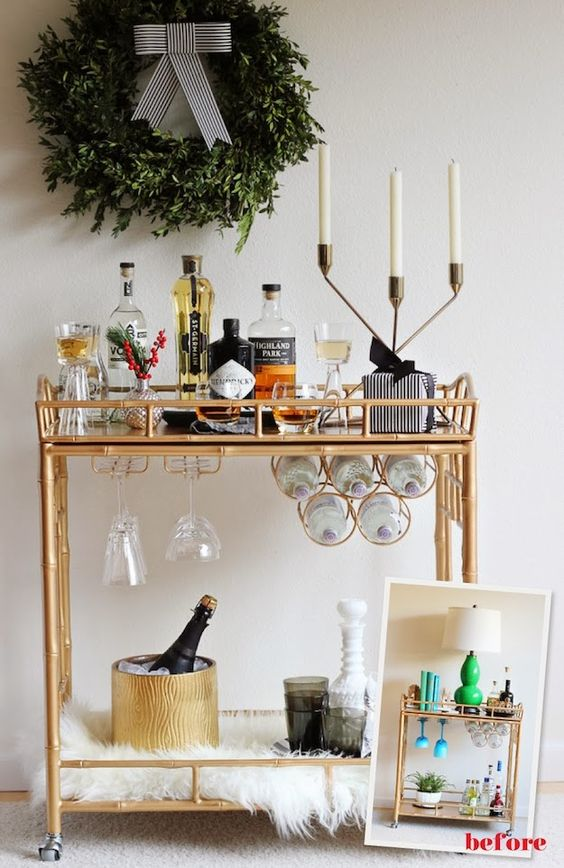 the social diary how to style a chic holiday bar cart society social the bar cart is back. Black Bedroom Furniture Sets. Home Design Ideas