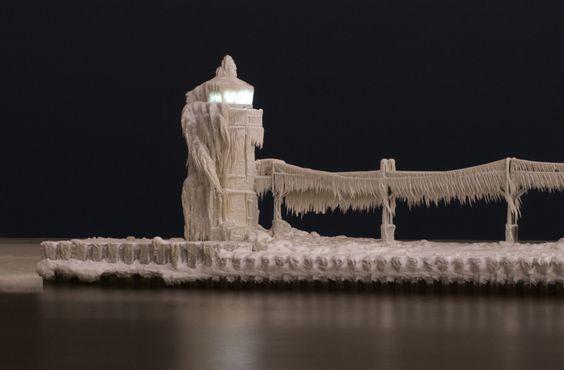 Encased in ice, St. Joseph's lighthouse, Michigan