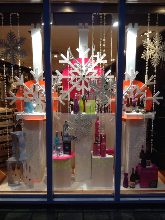Winter Themed Window Display At Liquor Store Styled And