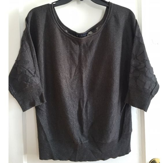 Lace-back Sweater Half-sleeve sweater with open back lace design. Charcoal grey color. Some piling on lace. American Eagle Outfitters Sweaters
