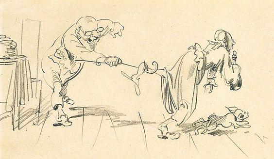 illustrations de wilhelm busch | Wilhelm Busch, Die Brille, 1. Bild, 1870, Wilhelm Busch - Deutsches ...