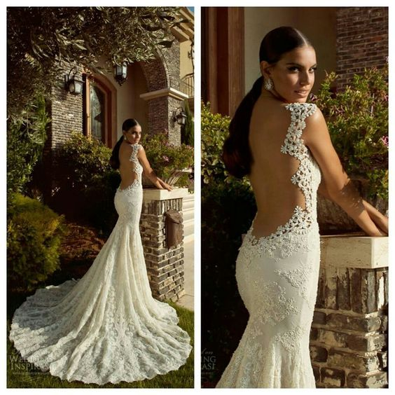 Low cut back with delicate lace trimmings wedding for Low cut back wedding dress