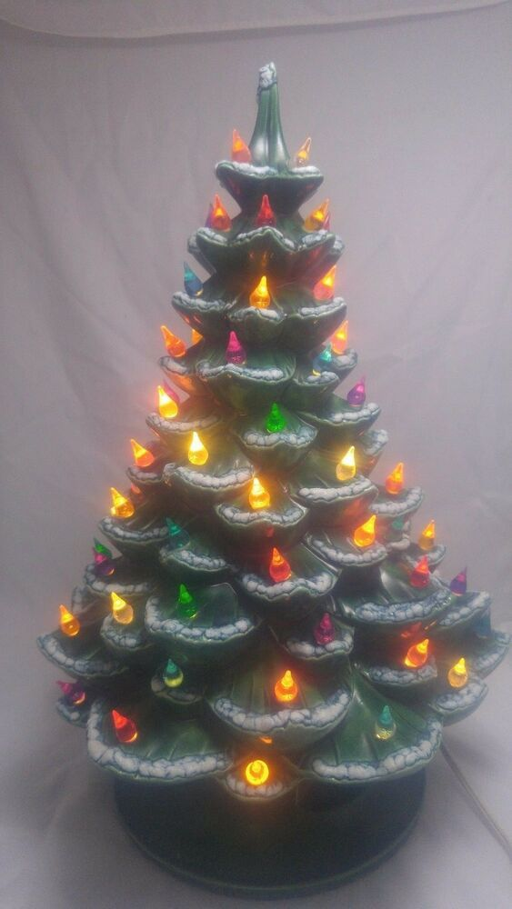 Vintage Green Ceramic Christmas Tree Light Large 18quot Mold 1974 Music Box Ebay Ceramic Christmas Tree Lights Ceramic Christmas Trees Christmas Tree