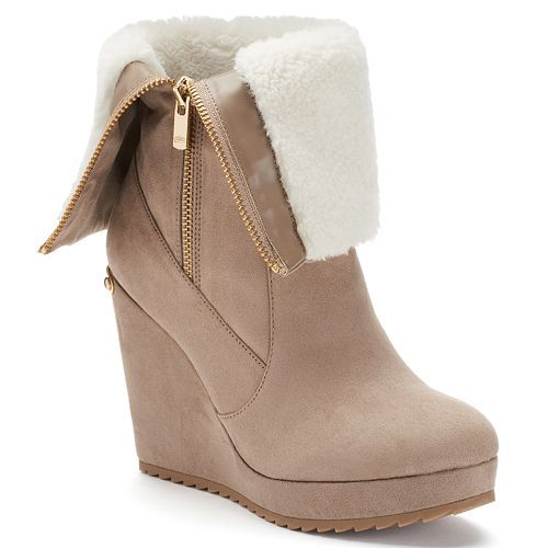 Juicy Couture Women\u0026#39;s Fold-Over Platform Wedge Boots | Shoes ...