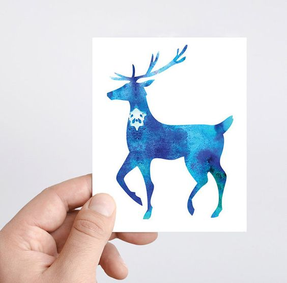Stag ACEO original print Blue Deer watercolor painting mini card Christmas card Greeting Card Original ACEO note card holiday gift moose art