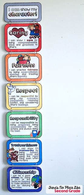 Alternative Clip Chart: Students earn their way onto the chart by exhibiting one of the character traits instead of starting at green and moving up or down.