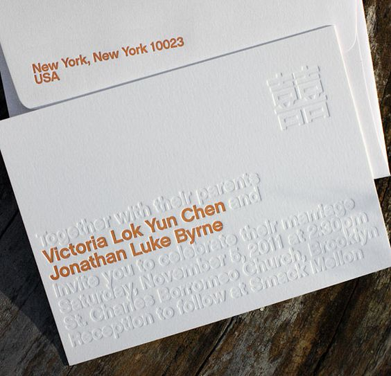 Wedding Invitation by Lion in the Sun: Awesome letterpress example.