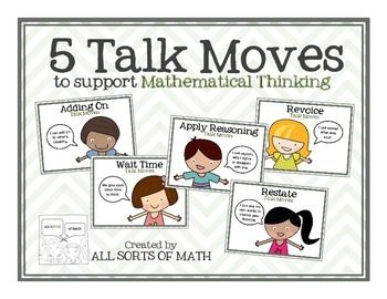 TALK MOVES are effective instructional strategies to promote student thinking and learning in all subject areas, and especially in mathematics.The 5 TALK MOVES identified here are REVOICING, RESTATING, APPLY REASONING, ADDING ON, and WAIT TIME. In this product, you will receive:(1) 5 Full Color Talk Move Posters(2) 5 B/W Talk Move Posters(3) 5 B/W Student Talk Move Cards (to hole-punch & put together)(4) Talk Moves Description for Teachers