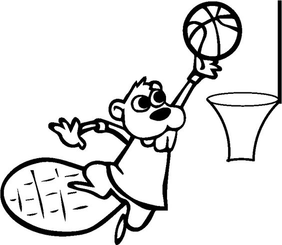 cool Basketball Beaver Page Coloring