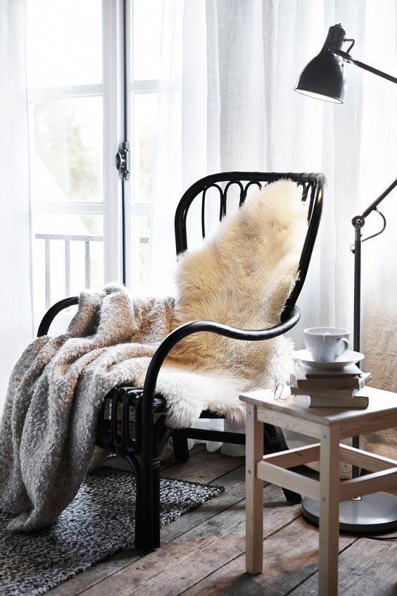 Snuggle up in a cosy corner with a sheepskin rug.Featured Products STORSELE LUDDE (Source: everyday.ikea.com):