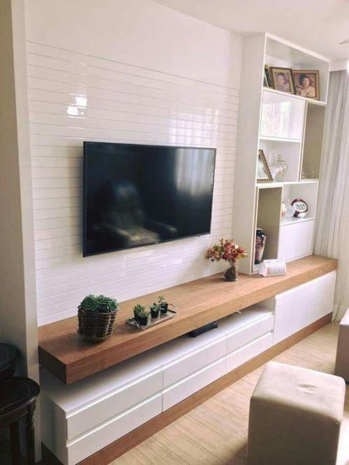 meuble tv mur en blanc laque