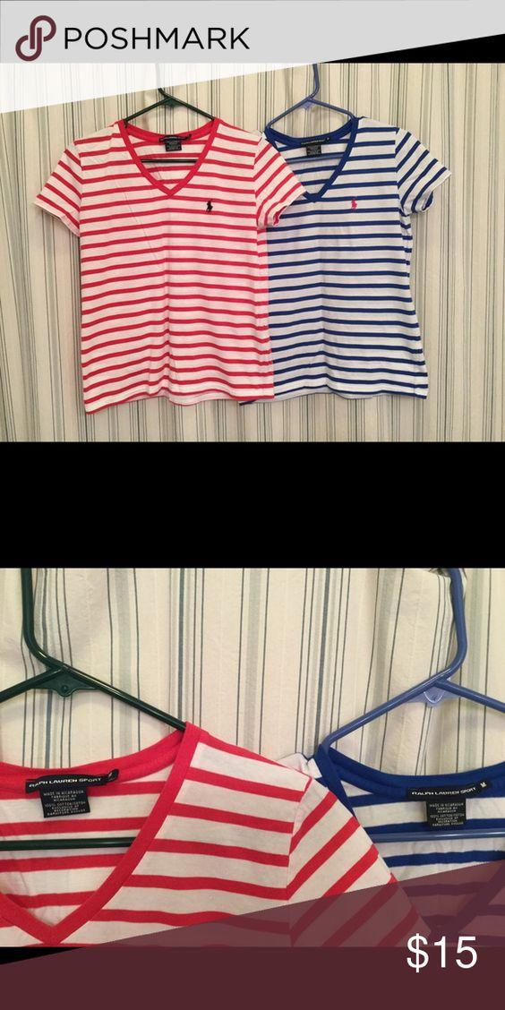 Ralph Lauren Sport Stripe Tees Ralph Lauren Sport Tees, size M, red stripe and royal blue stripe, red never worn and blue once Ralph Lauren Tops Tees - Short Sleeve