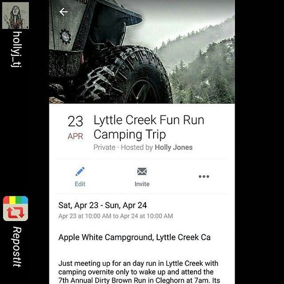 April 23rd: #LyttleCreekFunRun  Camping: #AppleWhiteCampGround  Then the next morning driving to.... April 24th: #DirtyBrowns7thAnnual #Cleghorn Run @ 7am  Meeting: McDonalds  All is welcome!! #OffRoadHer #Jeep #Toyota #4x4 #Crawlers #TrailRider #Moto #LifeOfAdventure #LifeInMotion #BlinksOffroad #FilthyDirtyJeepGirl #1020Adventure #RepostIt_app by offroad_hers