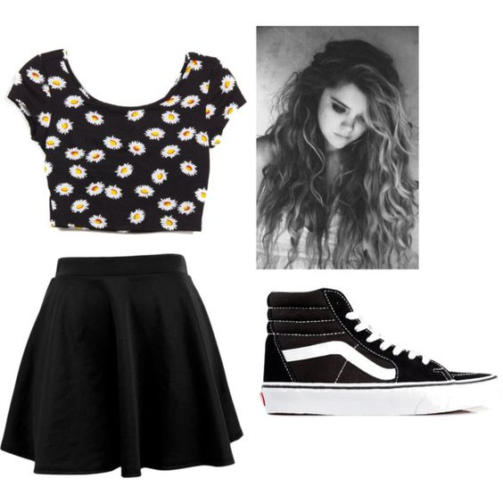 Daisy Crop Top with a black Skater skirt and some black hightop ...