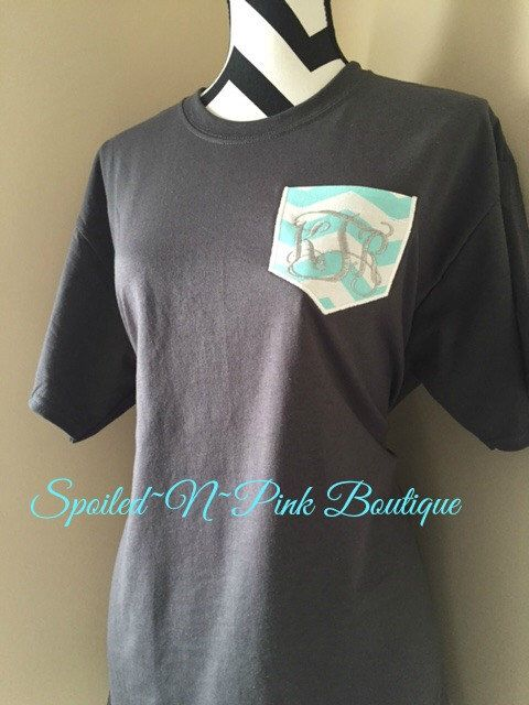 A personal favorite from my Etsy shop https://www.etsy.com/listing/223086572/monogram-short-sleeve-pocket-tee