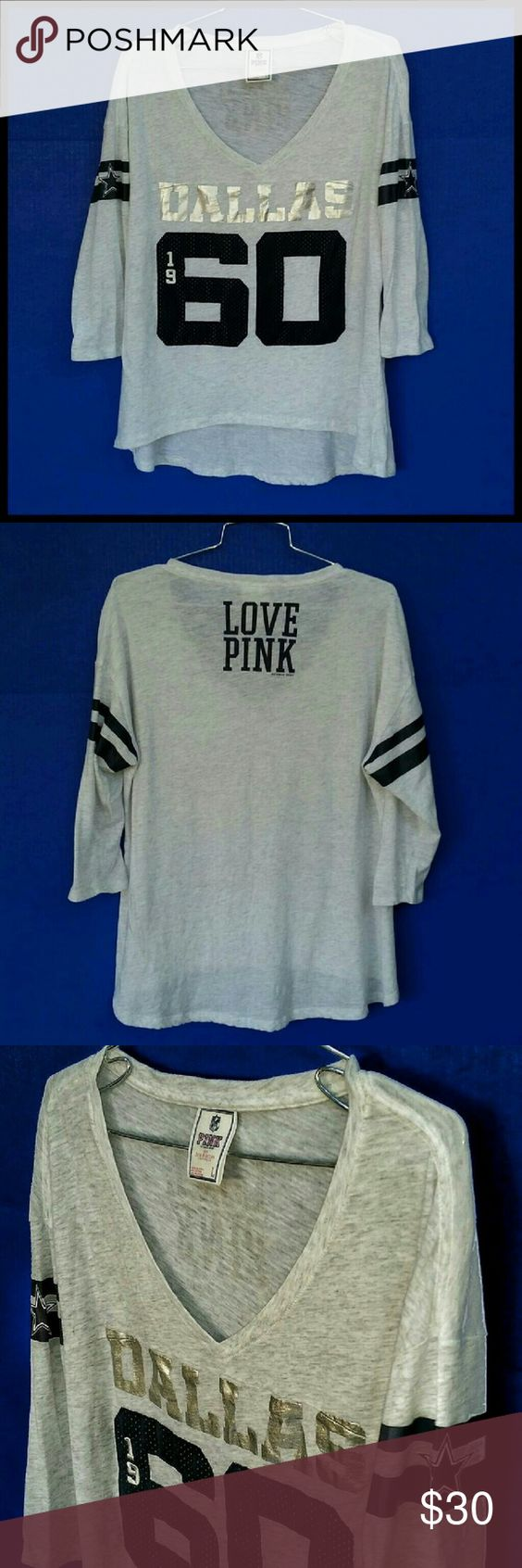 Victoria's Secret Pink Dallas Cowboys T-Shirt Love Pink Heather grey Dallas Cowboys T-Shirt w/3/4 length sleeves. Great condition. Victoria's Secret Tops