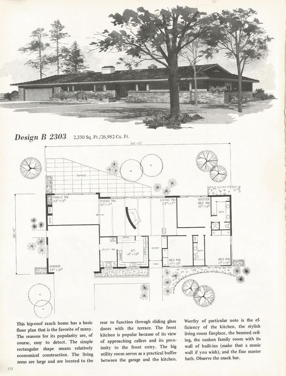 Vintage house plans 1960s mid century homes house for 1960s floor plans