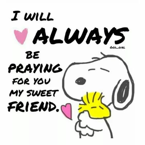 #Snoopy hugging #Woodstock. Peaceful people know that they have a Friend praying for them.. knowing that if we accept His friendship & its terms- honoring Him-- John 15- Jesus is a Forever Friend (Hebrews 13) who prays for US. See John 17:20, Jesus said,