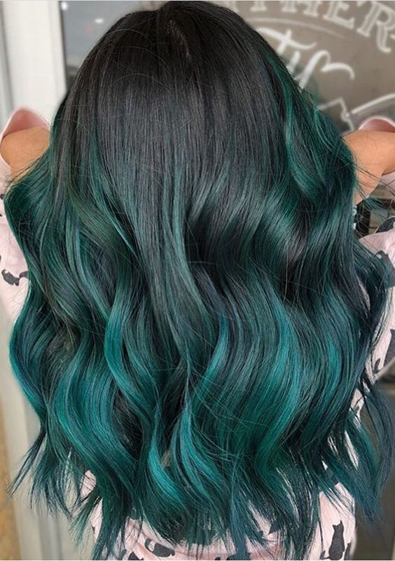 79 Dark Blue Hair Color For Ombre Teal Dyed Hair Blue Ombre Hair