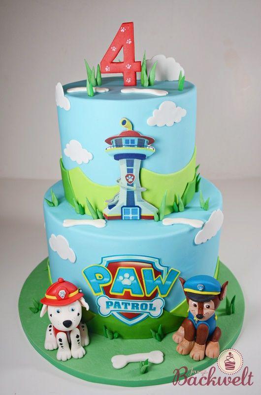 Paw Patrol Torte Mit Chase Und Marshall Paw Patrol Torte Kuchen Kindergeburtstag Torte Kindergeburtstag