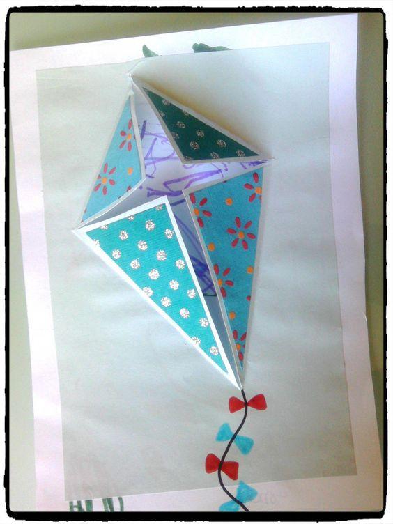 cerf volant, carte à offrir, ciel, été, bricolage enfant, carte pop up #petitbricolage