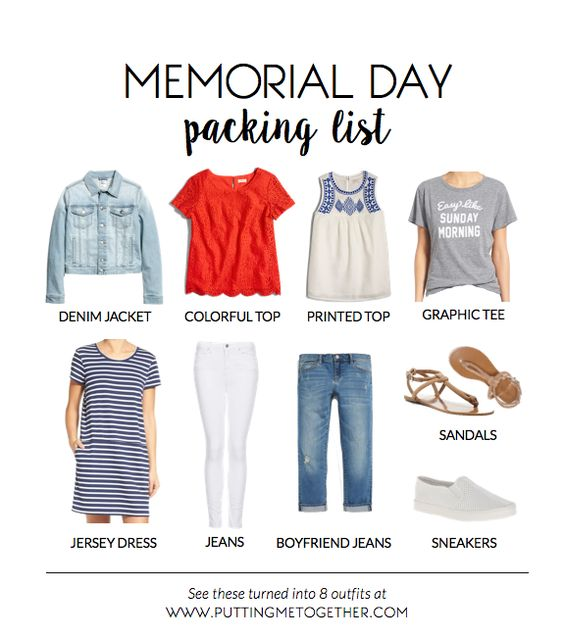 Memorial Day Packing List - 9 Pieces, 8 Outfits